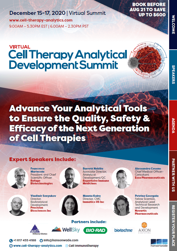 Cell Therapy Analytical Development Brochure Cover